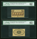Fractional Currency:First Issue, Fr. 1282spnmf 25¢ First Issue PMG Uncirculated 62.. Fr. 1282spnmb 25¢ First Issue PMG Choice Uncirculated 63 EPQ.... (Total: 2 notes)