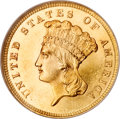 Three Dollar Gold Pieces, 1860 $3 MS64 ★ NGC. CAC....
