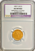 1857-S $2 1/2 --Improperly Cleaned--NCS. AU Details. NGC Census: (9/124). PCGS Population (13/38). Mintage: 69,200. Numi...