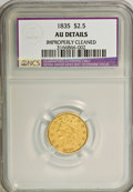 Classic Quarter Eagles: , 1835 $2 1/2 --Improperly Cleaned--NCS. AU Details. NGC Census: (18/217). PCGS Population (18/90). Mintage: 131,402. Numismed...
