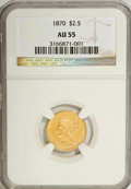 1870 $2 1/2 AU55 NGC. NGC Census: (18/49). PCGS Population (13/14). Mintage: 4,555. Numismedia Wsl. Price for NGC/PCGS c...