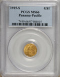 Commemorative Gold: , 1915-S G$1 Panama-Pacific Gold Dollar MS66 PCGS. PCGS Population(666/46). NGC Census: (460/45). Mintage: 15,000. Numismedi...