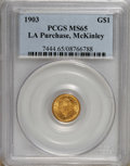 Commemorative Gold: , 1903 G$1 Louisiana Purchase/McKinley MS65 PCGS. PCGS Population(478/488). NGC Census: (351/402). Mintage: 17,500. Numismed...