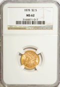 1878 $2 1/2 MS62 NGC. NGC Census: (483/401). PCGS Population (309/404). Mintage: 286,260. Numismedia Wsl. Price for NGC/...