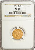 1912 $2 1/2 MS61 NGC. NGC Census: (1538/3257). PCGS Population (341/2046). Mintage: 616,000. Numismedia Wsl. Price for N...