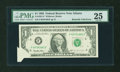 Error Notes:Foldovers, Fr. 1921-F $1 1995 Federal Reserve Note. PMG Very Fine 25.. ...