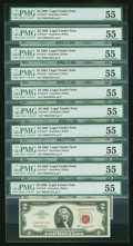 Small Size:Legal Tender Notes, Fr. 1513* $2 1963 Legal Tender Star Notes. Ten Examples. PMG About Uncirculated 55.. ... (Total: 10 notes)