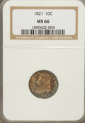 Bust Dimes: , 1821 10C Large Date MS66 NGC. NGC Census: (3/1). Mintage:1,186,512. Numismedia Wsl. Price for NGC/P...