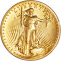 High Relief Double Eagles, 1907 $20 High Relief, Wire Rim MS66 PCGS....