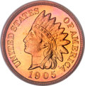 Proof Indian Cents, 1905 1C PR67 Red Cameo PCGS. CAC....