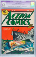 Golden Age (1938-1955):Superhero, Action Comics #11 (DC, 1939) CGC Apparent VF+ 8.5 Moderate (P) Off-white to white pages....