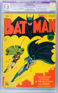 Batman #1 (DC, 1940) CGC Apparent VF- 7.5 Moderate (P) Cream to off-white pages