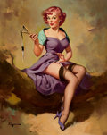 Paintings, GIL ELVGREN (American, 1914-1980). It's a Snap (Pretty Snappy; Snap Judgment), 1958. Oil on canvas. 30 x 24 in.. Signed ...