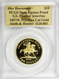 S.S.C.A. Relic Gold Medals, 1857/0 $10 49er Horseman Restrike Deep Cameo Proof PCGS. S.S.Central America. .913 Fine Cal Gold. Justh and Hunter; an...(Total: 2 coins)