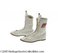 Boxing Collectibles:Memorabilia, 1977 Muhammad Ali Fight Worn Shoes. Historic footwear carried the boxing legend through his last successful title defense, ...