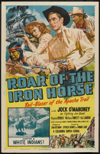 """Roar of the Iron Horse (Columbia, 1951). One Sheet (27"""" X 41"""") Chapter 6 -- """"White Indians!"""". Serial..."""