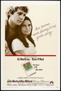 "Love Story (Paramount, 1970). One Sheet (27"" X 41"") and Lobby Card Set of 8 (11"" X 14""). Romance..."