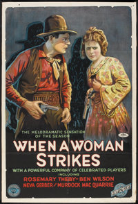 """When a Woman Strikes (Film Clearing House, 1919). One Sheet (27"""" X 41""""). Western"""