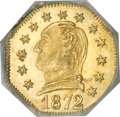 California Fractional Gold, 1872 25C Washington Octagonal 25 Cents, BG-722, Low R.4, MS66NGC....