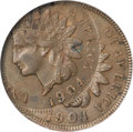 Errors, 1904 Indian Cent--Double Struck, Second Striking 30% Off Center--XF45 NGC....