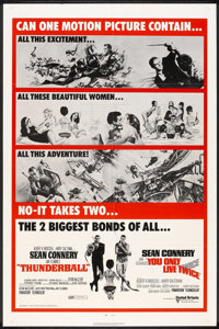 "Thunderball/You Only Live Twice Combo (United Artists, R-1971). One Sheet (27"" X 41""). James Bond"