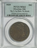 Bust Half Dollars, 1820 50C Square Base No Knob 2, Large Date MS62 PCGS....