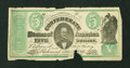 Confederate Notes:1861 Issues, CT33/250B $5 1861.. ...