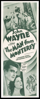 "The Man from Monterey (Warner Brothers, R-Late 1930s). Insert (14"" X 36""). Western"