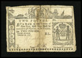 Colonial Notes:New York, New York February 16, 1771 £2 PMG Very Good 8 Net....