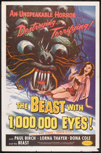 "The Beast with 1,000,000 Eyes! (American Releasing Corp., 1955). One Sheet (27"" X 41""). Science Fiction"