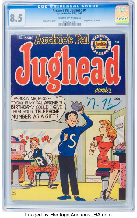 Archie's Pal Jughead #1 (Archie, 1949) CGC VF+ 8.5 Cream to off-white pages....