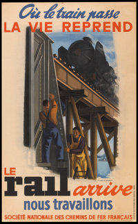 """French National Railways Poster (SNCF, 1944). French Poster (24"""" X 39""""). Travel"""