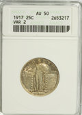 Standing Liberty Quarters: , 1917 25C Type Two AU50 ANACS. NGC Census: (5/404). PCGS Population (13/610). Mintage: 13,880,000. Numismedia Wsl. Price for...