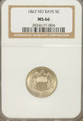1867 5C No Rays MS66 NGC. NGC Census: (30/0). PCGS Population (11/0). Mintage: 28,800,000. Numismedia Wsl. Price for NGC...