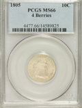 Early Dimes: , 1805 10C 4 Berries MS66 PCGS. PCGS Population (4/3). NGC Census:(7/5). Mintage: 120,780. Numismedia Wsl. Price for NGC/PCG...