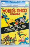 Golden Age (1938-1955):Superhero, World's Finest Comics #10 (DC, 1943) CGC VF- 7.5 Off-white to white pages....