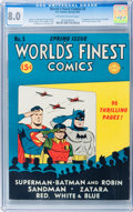 Golden Age (1938-1955):Superhero, World's Finest Comics #5 (DC, 1942) CGC VF 8.0 Off-white to white pages....
