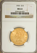 Liberty Eagles: , 1903 $10 MS63 NGC. NGC Census: (128/52). PCGS Population (102/49).Mintage: 125,800. Numismedia Wsl. Price for NGC/PCGS coi...