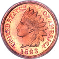 Proof Indian Cents, 1893 1C PR66 Red Cameo PCGS....