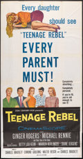 "Movie Posters:Drama, Teenage Rebel (20th Century Fox, 1956). Three Sheet (41"" X 81"").Drama.. ..."
