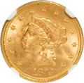 1873 $2 1/2 Open 3 MS62 NGC. NGC Census: (162/119). PCGS Population (102/123). Mintage: 122,800. Numismedia Wsl. Price f...