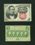 Fractional Currency:Group Lots, Fr. 1266 10c Fifth Issue Choice New. Fr. 1312 50c First Issue Fine.. ... (Total: 2 notes)