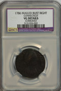 1786 COPPER Connecticut Copper, Mailed Bust Right, Small Head Right, ETLIB INDE--Corroded--NCS. VG Details. NGC Census:...