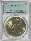 Eisenhower Dollars: , 1977-D $1 MS65 PCGS. PCGS Population (1047/358). NGC Census: (1566/123). Mintage: 32,983,006. Numismedia Wsl. Price for NGC...