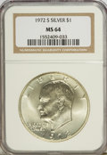 Eisenhower Dollars: , 1972-S $1 Silver MS64 NGC. NGC Census: (39/2125). PCGS Population (129/9666). Mintage: 2,193,056. Numismedia Wsl. Price for...