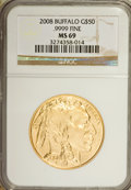 Modern Bullion Coins, 2008 G$50 Buffalo MS69 NGC. NGC Census: (0/0). PCGS Population(651/223). (#393327)...