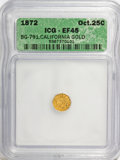California Fractional Gold, 1872 25C Indian Octagonal 25 Cents, BG-791, R.3, XF45 ICG. NGCCensus: (0/53). PCGS Population (0/224). (#10618)...