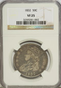 Bust Half Dollars: , 1832 50C Small Letters VF25 NGC. NGC Census: (11/1562). PCGSPopulation (15/1499). Mintage: 4,797,000. Numismedia Wsl. Pric...