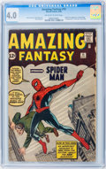 Silver Age (1956-1969):Superhero, Amazing Fantasy #15 (Marvel, 1962) CGC VG 4.0 Off-white to whitepages....