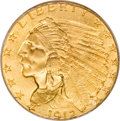 Indian Quarter Eagles, 1912 $2 1/2 MS66 PCGS. CAC....